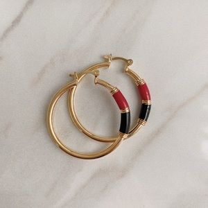 Red Black Enamel Tube Hoops | 18k Gold Filled